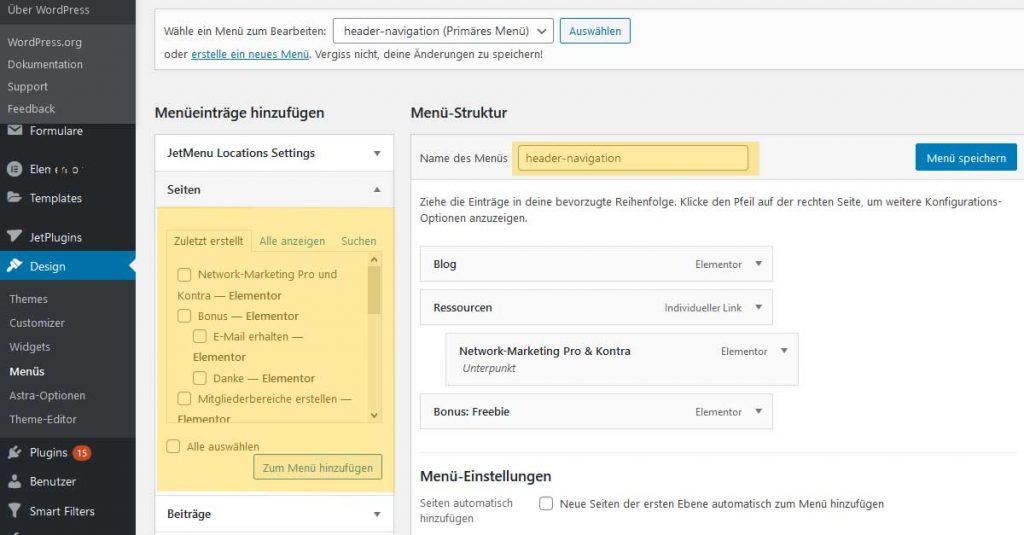 Wordpress_navigation_einrichten